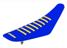 Suzuki RM 125 250 1996 - 2000 Ribbed Gripper Seat Cover Blue Yellow Ribs Moto X