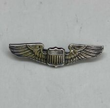 Vintage Sterling Silver Air Force Military Pilot Wings Pin
