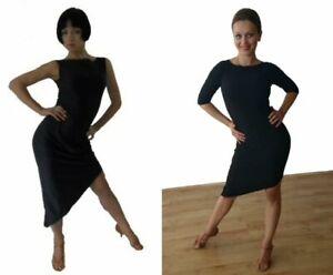STRETCHY SIMPLE LATIN / TANGO PRACTICE DRESS WITH DIAGONAL HEM. BLACK