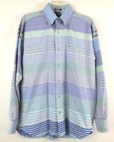 Tommy Hilfiger Mens Shirt Long Sleeve Button Down Striped Blue Size Medium EUC