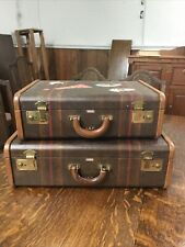Two Vintage 1940's Mendel Striped Suitcases Luggage Leather Handle and Trim
