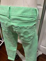 """Lilly Pulitzer Bright Green """"Worth Skinny Mini Zip Cuff"""" Denim Jeans, Size 2"""