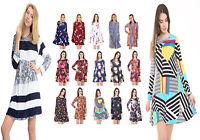 Womens Long Sleeve Swing Skater Dress Ladies Printed Tunic Top Plus Size UK 8-26