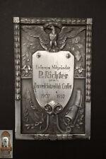 19 x 12 cm Plakette 1932 Jh. Zimmerschützenklub Crossen Relieffplatte Jubiläum