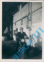 1946 Photo Royal navy Servicemen on  Motorcycle HMS Peregrine