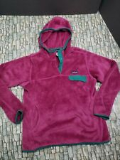 PATAGONIA Re-Tool Hooded Purple Green Snap T Pullover Fleece  women sz L