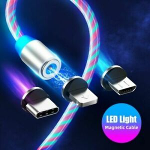 360 Magnetic LED Glowing Flowing Fast Charging Cable Type-C Micro USB Charger