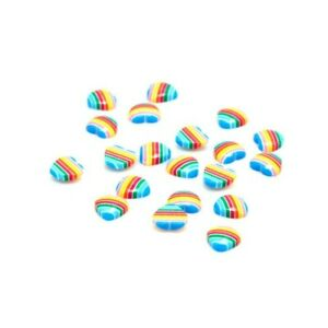 50 Rainbow Striped 10mm Resin Domed Heart Flat Back Glue On No Hole Cabochons