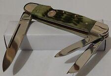 ANTIQUE GREEN BONE HUNTING POCKET KNIFE LOCKBACK WHITTLER 3 BLADE !!!
