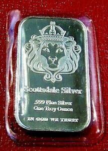 "Scottsdale Mint "" Lion's Head "" Bar 1 Troy oz.999 Fine Silver  Mint Sealed"
