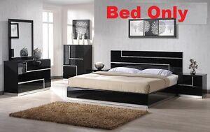Modern 1 Pc Est King Bed Bedroom Black Lacquer W Rhinestones Headboard Furniture