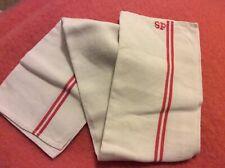 Antique French Linen Red Stripe Torchon Linen Dish Hand Towel Metis SP Monogram