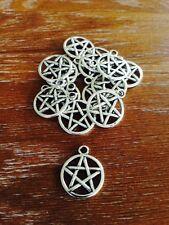 Antique Silver Pentagram Charms / Pendants x 15