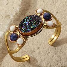 New Tara Mesa Lapis Lazuli, Moonstone & Titanium Drusy Open Cuff Bracelet