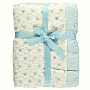 Hudson Baby Two Swaddle Blankets Blue Sheep Cotton Muslin 46 x 46 inches