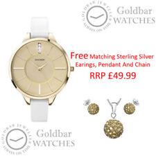 Relojes de pulsera de oro blanco de cuero para mujer