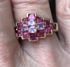 ❤️NEW HANDSET YELLOW GOLD PINK TOURMALINE & KUNZITE RING~6.75-7~PRETTY!!