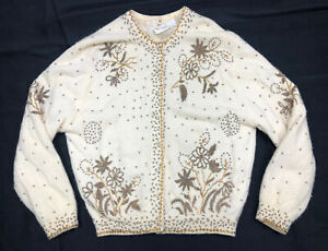 Vintage Ricky Bo Sequin Beaded Sweater Made In Hong Kong Hand Beaded