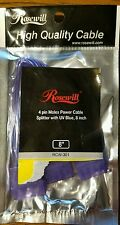 *Brand New Rosewill 4 Pin Molex Power Cable Splitter With UV Blue 8 Inch