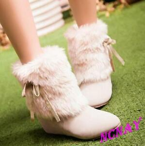Casual Womens Fur furry MId Calf Winter Snow Boots Wedge Faux Suede Velvet Shoes