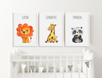 Watercolour Animal Prints For Nursery / Baby Bedroom Boys Girls Room Pictures /