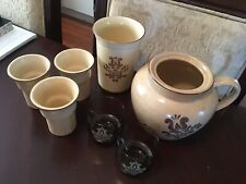 Vintage 1970's Pfaltzgraff VillageLot Bean Pot Handle Cups Glass Cups Set