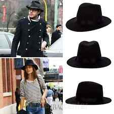 Men's Black Wool Felt Wide Brim Safari Fedora Hat Cap (Black) M
