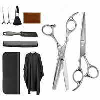 Professional Hair Cutting Thinning Scissors Barber Hairdressing Cape Brush Set