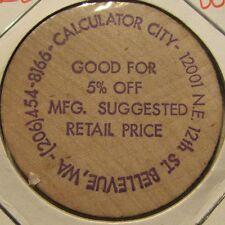 Vintage Calculator City Bellevue, WA Wooden Nickel - Token Washington Wash.