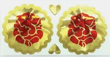 2 x Traditional Round Gold Background and Red Ganesh/Ganapati Foil Sticker