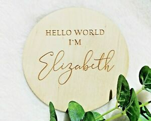 """Birth announcement name plaque """"Hello world I'm"""" Personalised Baby name sign NP7"""
