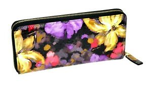 Women's Floral Leather and Cow Grainy Genuine Leather Zip Around Wallet NEW