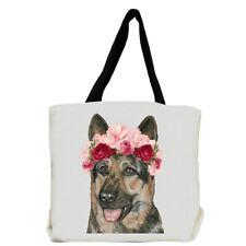 German Shepherd Dog with Flowers Tote Bag