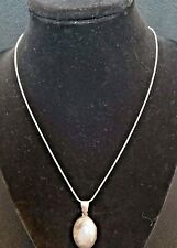 "Locket Vintage Sterling Silver Floral Vine Etched Oval Pendant + 18"" SS Chain"