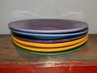 "6 Pottery Barn Sausalito 12"" Dinner Chop Plates Multi-Color Lot Ylw Grn Blu Purp"