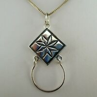 Sterling Silver STAR QUILT Charm Holder QUILTING GIFT Necklace Pendant QUILTER