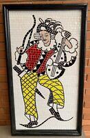 Vtg 50s 60s Tile Mosaic Musician Jester Harlequin Wall Hanging Art Mid Century