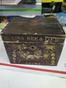 ANTIQUE YING MEE Co WOODEN TEA BOX early 1900 rare (d4)