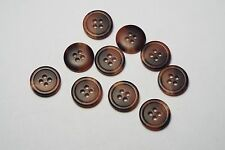 10pc 15mm Reddish Brown Mock Horn Bone Shirt Suit Cardigan Knitwear Button 3778