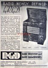 1937 R.G.D Model 880 Wireless Radio Gramophone AD - Small Art Deco Print ADVERT