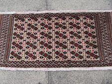 Antico Tradizionale Persiano Lana Marrone 3x2 Tappeto orientale fatto a mano Carpet Rug 47x100cm