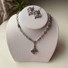 Brighton Women's Heart Pendant Jewelry Set Necklace Earrings Silver Tone Hearts