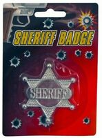 Silver Star Sheriff Badge Cowboy Western Wild West Fancy Dress Accessory P7008