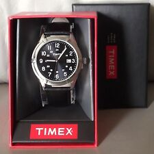 TIMEX ~ Men's Easton Avenue Stainless Steel w/Black Leather Band Watch ~ NIB