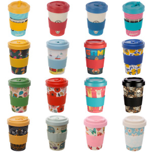 Eco Friendly Re-Usable Bamboo Tea Coffee Cup With Lids Flask Gift Box 400ml