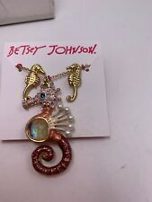 Betsey Johnson Mermaid Seahorse Pink Gold Tone Necklace Earrings Z56