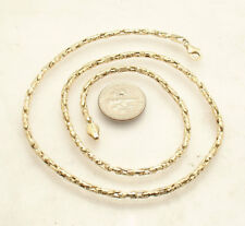 "18"" Round Diamond Cut Box Chain Necklace Lobster Clasp Real 14K Yellow Gold"