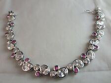 "Sparkling Clear & Pink Rhinestone Chain Bracelet Silver Tone 7.5""L 3/8""W"