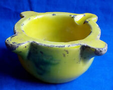 19th century French yellow & green glazed pottery Provence mortar circa 1850
