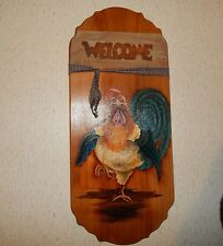 HAND PAINTED ROOSTER~SIGNED~WELCOME PLAQUE~VERY COUNTRY~HANGER ON BACK
